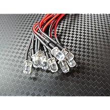 Qty 10- LED Lights- 3mm, 5mm, 8mm, 10mm pre wired 12 volt leds- 12V White, Red, Blue, Orange, Green (3mm, Blue)