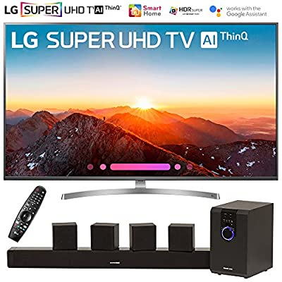 "LG 49SK8000PUA 49""-Class 4K HDR Smart LED AI SUPER UHD TV w/ThinQ (2018 Model) with Sharper Image 5.1 Home Theater System w/Subwoofer, Sound Bar & Satellite Speakers"