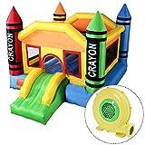 Costzon Inflatable Crayon Bounce House Castle Jumper Moonwalk Bouncer With 480 Watt Blower
