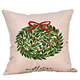 Dermanony Christmas Decorative Pillow Cases Cotton Linen Pillow Square Cushion Cover for Home Sofa Couch Decoration