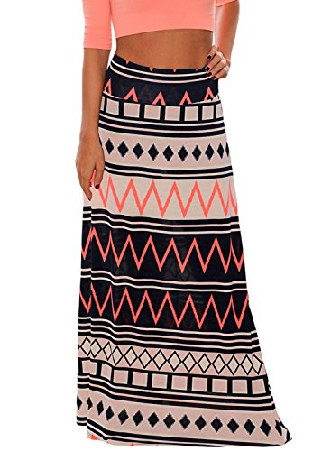 7ab9f8ffb6 Alvaq Women Summer Coral Print Long Maxi Skirt (8 Colors And ...