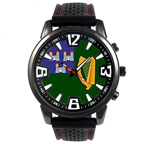 - Timest - Ireland Dublin Flag - Mens Black Jelly Silicone Wrist Watch Round Analog Quartz SF447