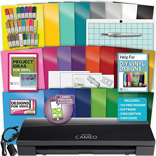 Black Silhouette Cameo 3 Machine Bundle 1 -25 Oracal Vinyl PixScan Tool Designs by Silhouette America