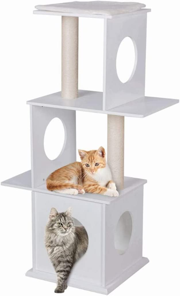Good Life 47 Modern Deluxe Cat Tree 3 Floors Wood Furniture Climbing Play Tower with Condo House with Scratching Post Pads White