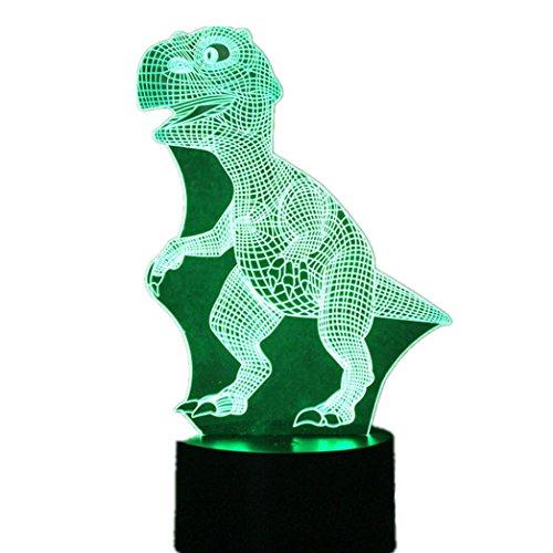 Optical Illusion Dress Costume (Kanzd Colorful Unique 3D Dinosaur Earth Airship Dolphin Optical Illusion Home Decor LED Table Lamp Party Decor (B))