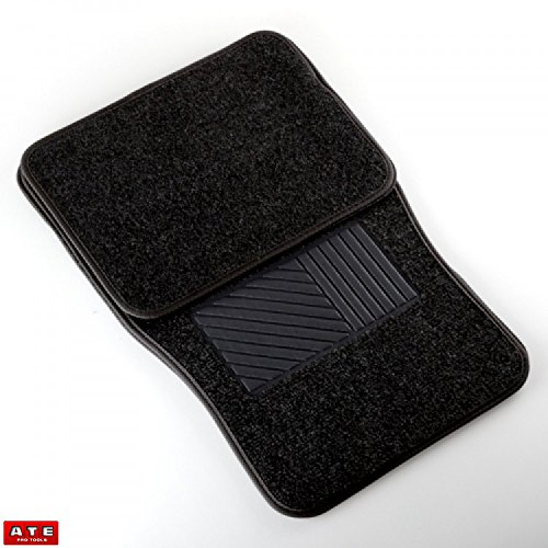 Car Floor Mats Carpeted 4 Piece Black Car Mat Set Universal Fit