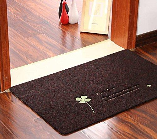 B&S FEEL Clover Bedroom Door Mats Doormat Carpet Kitchen Bathroom Non-slip Carpet Rug (Dark brown) by B&S FEEL