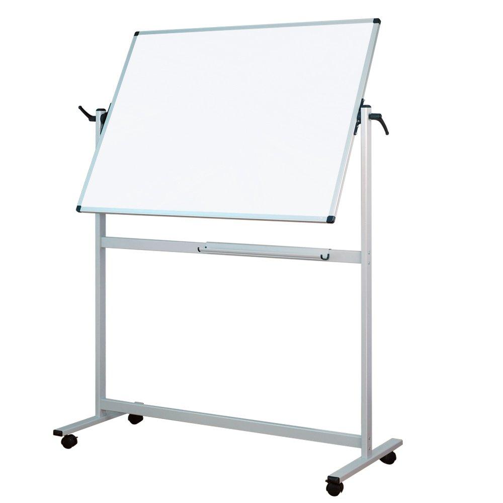 Lockways Reversible Magnetic Mobile Whiteboard - 3 X 4 Double Sided Dry Erase Whiteboard , Office Dry Erase Board 48'' X 36'' , Anti-scratch Aluminum Frame U12415211425 for Office & School(48''x36'') by Lockways