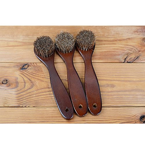2PCS Polish Shoe Brush  ,  6.7'' Horse Shine Horsehair Brushes With Leather Dauber , Waterproofing Brown Cleaning Applicator Conditioner For Coats , Handbags ,  Purses ,  Briefcases ,  Saddles ,  Boot by ieasycan (Image #5)