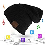 Unisex Trendy Warm Bluetooth Beanie Hat Winter Knit Cap with Wireless Headphone Headset Speaker Mic Hands-free Valentine's Day Holiday Gift for Winter Outdoor Sport Skiing Snowboard Jogging Hiking