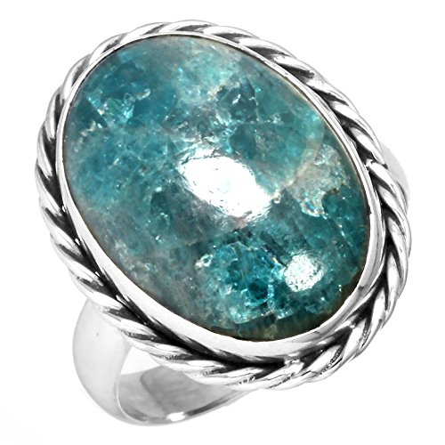 Natural Neon Blue Apatite Gemstone Designer Jewelry Solid 925 Sterling Silver Ring Size 8