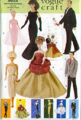 Vogue 9894 - 11.5-Inch Vintage Fashion Doll Clothes - Patterns for 4 Women and 2 Male Outfits (Vogue Craft, Also sold as Vogue 650)