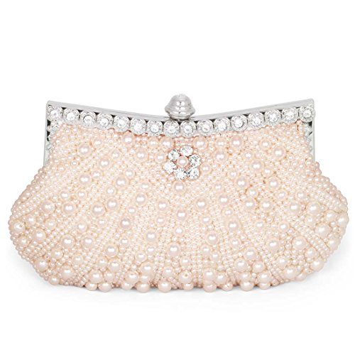Clutch Lined Beaded - BMC Womens Pink Champagne Faux Pearl Cascading Bead Rhinestone Encrusted Evening Clutch Cocktail Party Fashion Purse