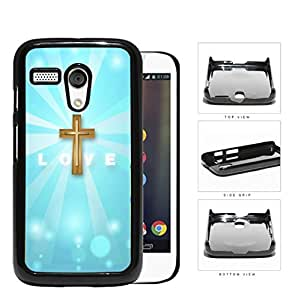 LOVE With Gold Cross And Light Blue Background Motorola (Moto G) Hard Snap on Plastic Cell Phone Case Cover