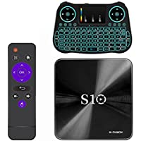 NEW R-TV BOX S10 3G DDR4 RAM 16G ROM Amlogic S912 Android 7.1.2 Octa Core 4K UHD WiFi BT 4.1 H.265 TV Box Media Playe with Backlit Wireless Keyboard