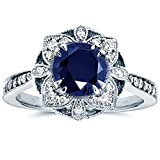 Antique Floral Sapphire and Diamond Engagement Ring 1 1/2 Carat (ctw) in 14k White Gold
