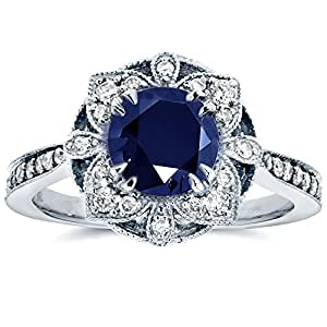 Antique Floral Sapphire and Diamond Engagement Ring 1 1/2 Carat (ctw) in 14k White Gold, Size 5.5