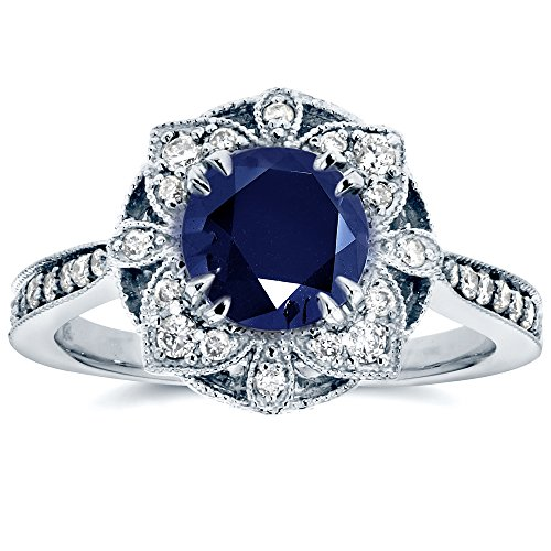 Antique Floral Sapphire and Diamond Engagement Ring 1 1/2 Carat (ctw) in 14k White Gold, Size 6.5 from Kobelli