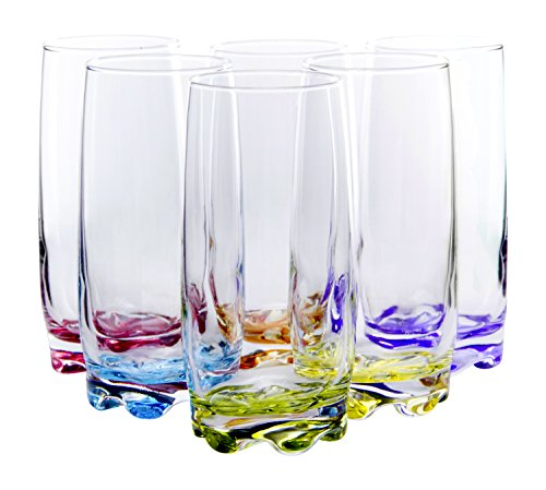 Vibrant Splash Water/Beverage Highball Glasses, 13.25 Ounce - Set of 6 by Red Co.