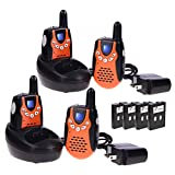 Swiftion Rechargeable Kids Walkie Talkies 22 Channel 0.5W FRS/GMRS 2 Way Radios with Charger and Rechargeable Batteries (Orange, Pack of 4)