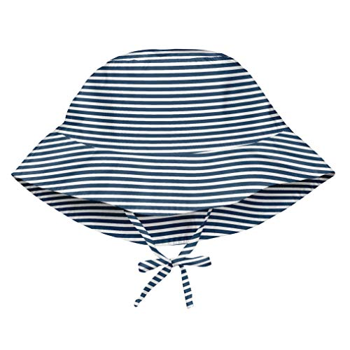 (i play. Baby Girls Bucket Sun Protection Hat Navy Pinstripe 9-18mo, 9/18mo)
