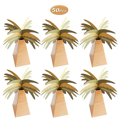 50 Pcs Mini Coconut Tree Candy Boxes, Hawaiian Style Paper Boxes for Wedding Party Favors