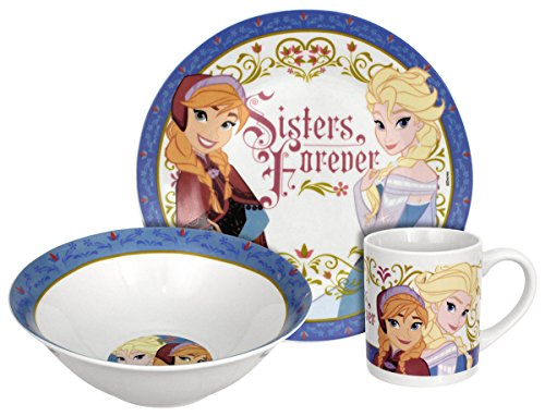 Disney Frozen Sisters Forever Dinnerware Set, - 3 Set Child Dinnerware Piece