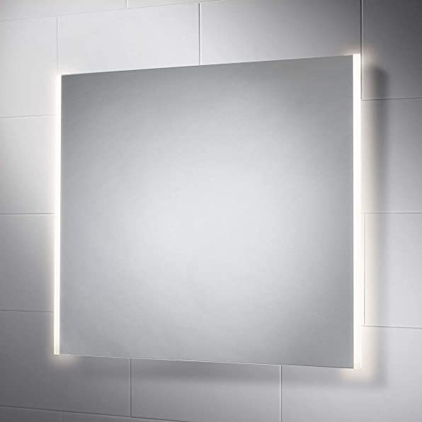 Pebble Grey 28 x 32 Inch Bathroom Mirror with LED Illuminated Lights and Demister for Anti Fog
