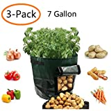 YOQXHY Potato Grow Bags 7 Gallon Garden Vegetables Planter Bags with Handles and Access Flap for Planting Potato Carrot Onion Taro Radish Peanut,3-Pack,(7 Gallon)