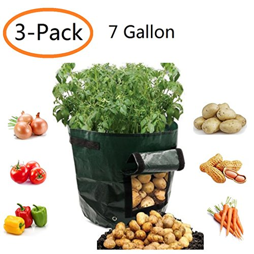 YOQXHY Potato Grow Bags 7 Gallon Garden Vegetables Planter Bags with Handles and Access Flap for Planting Potato Carrot Onion Taro Radish Peanut,3-Pack,(7 Gallon) by YOQXHY