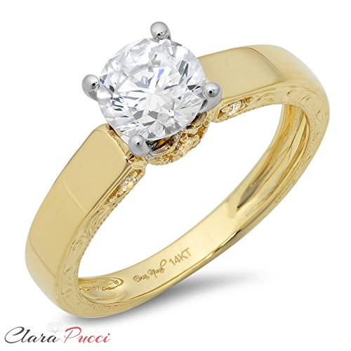 1.9 Ct Round Cut Promise Bridal Engagement Promise Wedding Anniversary Ring 14K Yellow White Gold, Clara Pucci