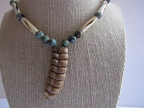 Rattlesnake Rattler Tail Snake Pendant Necklace Tribal Bone Jewelry Boho Spirit Animal N532