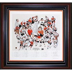 1974 75 Philadelphia Flyers Autographed Framed 26x28 Litho Autographed NHL Art