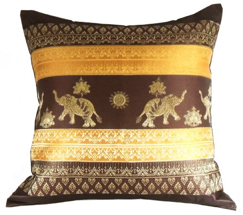 Rare Unique Art Vintage Asian Oriental Thailand Home Decorative Pillowcase Elephant Brown Yellow Color