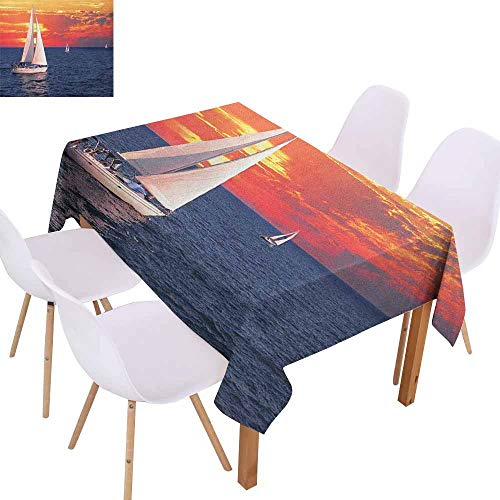 (Restaurant Tablecloth Sailboat Sailboat Sailing on a Calm Evening Setting Sun Colored Sky Scenery Picnic W70 xL84 Dark Blue Orange White)