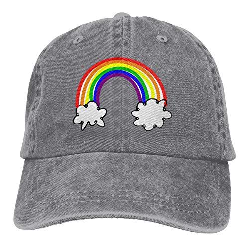 Auryaddle Men and Womens Unisex Free Rainbow Clipart Vintage Washed Cotton Adjustable Baseball Cap Hat