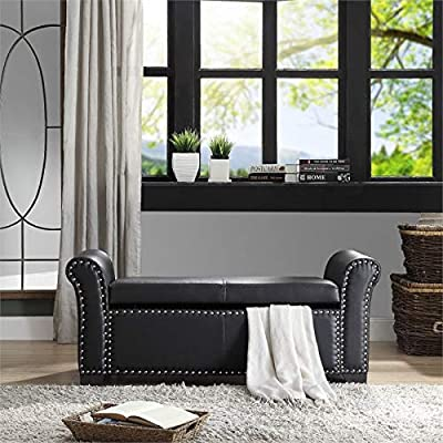 Brika Home Faux Leather Storage Ottoman Bench in Black