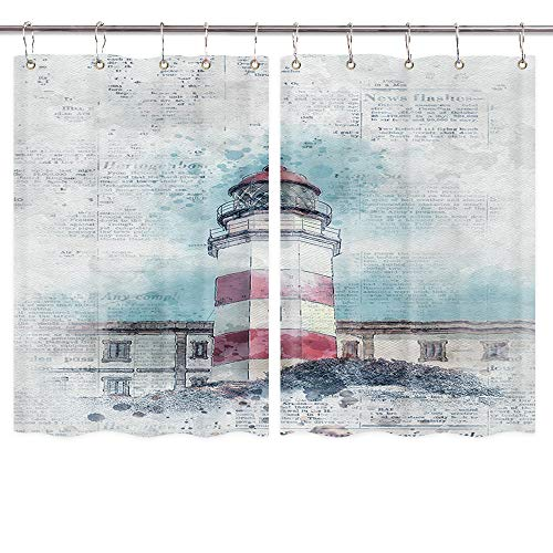 Lighthouse Kitchen Curtains, Hand Painted Watercolor Lighthouse on Retro Newspaper Premium Decor Window Drapes Curtains 2 Panels, Upgrade Window Treatment Sets with Hooks, 55X39Inches (Lighthouse Kitchen Curtains)