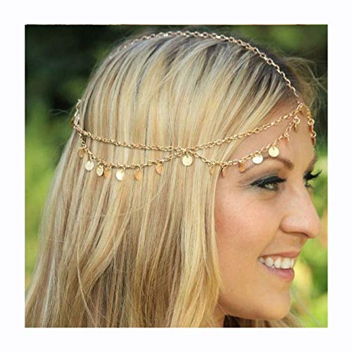Luxcastle Gold Coin Crown Gypsy Hair Chain Jewelry Boho Hair Accessory Festival Tassel Headpiece for Bride and Women