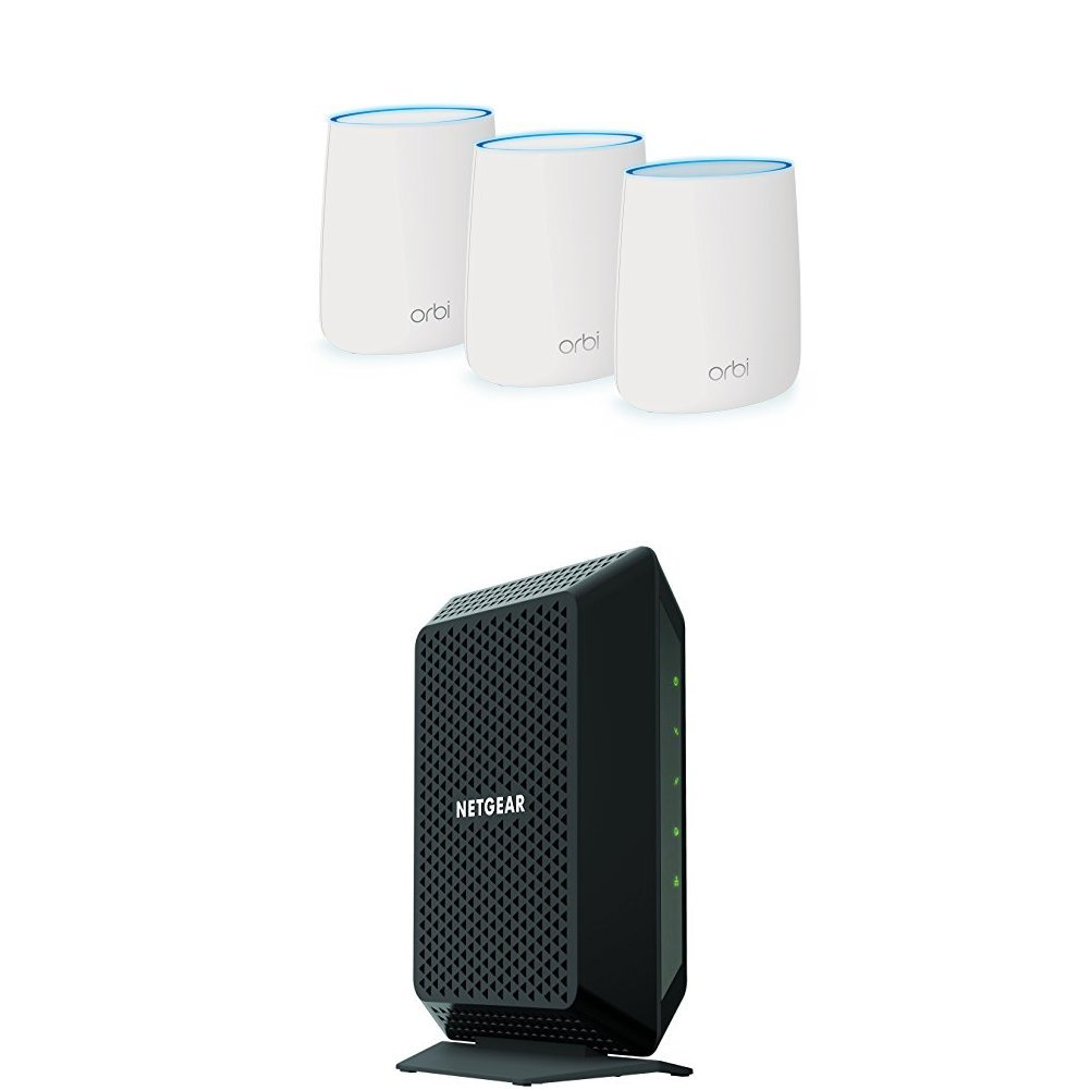 NETGEAR Orbi Home Mesh WiFi System | Compact Design (RBK23) with NETGEAR Cable Modem 32x8 DOCSIS 3.0 Max speed 1.4Gbps (CM700-1AZNAS) by