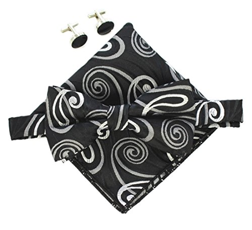 Paisley Hankie - Black Silver Grey Bow Tie Events Formal Paisley Hankie Bowtie Set Son Ideal Gift