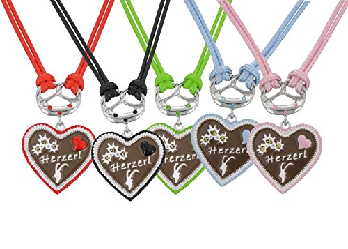 Trachtenkette Dirndl Kette Brezel leckeres Lebkuchen Herz mit Strass, doppelte Kordel mit Herzerl und Strass (Rosa)