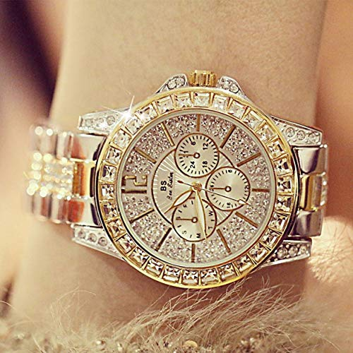 anyilon A02049 Luxury Zircon Inlaid Wristwatch Waterproof Week Date Display Lady Quartz Watch Casual Steel Strap Female Watch