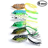 6PCS Fishing Lures Topwater Floating Weedless Frog Baits with Double Sharp Hooks Soft