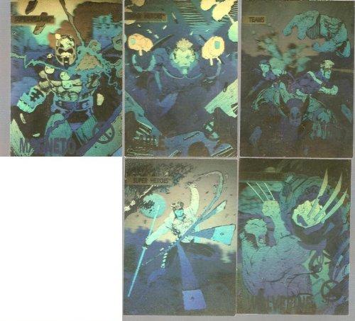 X-Men Series 1 Complete 5 Hologram Set Trading Cards Jim Lee 1992