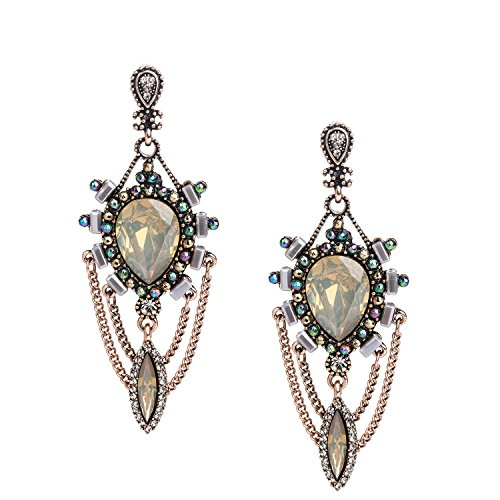 [She Lian Womens Vintage Teardrop Crystal Chandelier Dangle Pierced Earrings (Antique Gold-yellow)] (Yellow Gold Costume Jewelry)