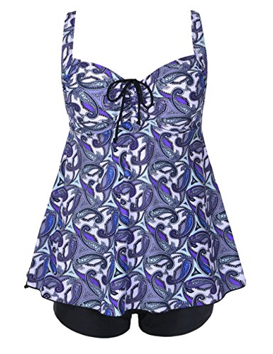 [Firpearl Women's Paisley Print Plus Size Tankini Bathing Suit Swimsuit 18 Blue small Paisley] (Plus Size Swimsuits)
