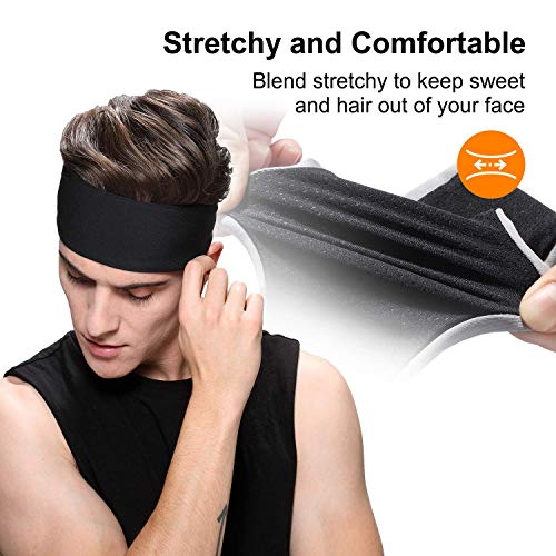 Sport Headbands,Soft Moisture Wicking Headband for Men and Women,Workout Sweatband Headband for Running, Yoga, Fitness