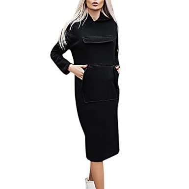 7a1c2c601f8 GOVOW Hooded Sweatshirt Dress Women Plus Size Casual Long Sleeve Hoodie  Pocket Solid Pullover(US