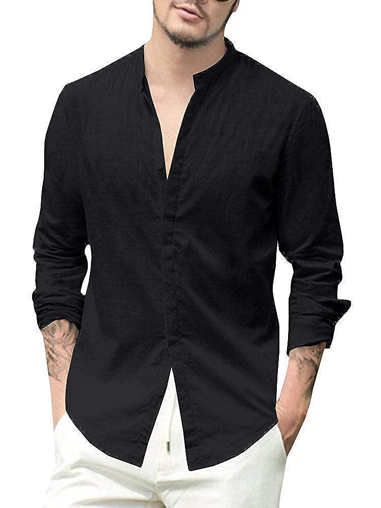 Medium, B-Black PASLTER Mens V Neck Cotton Linen Hippie Shirts Long Sleeve Casual Henley T-Shirt Top